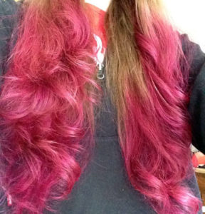 Manic Panic Hot Hot Pink, undiluted, on unbleached hair