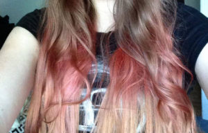 Pravana pink and pastel pink ombré on lightly bleached hair